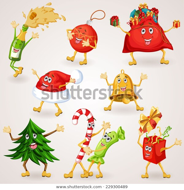 Christmas Icons Set Holiday Moving Characters Stock Vector (Royalty.