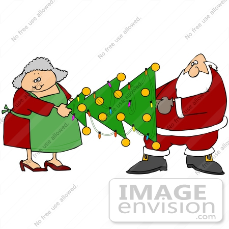 Clip Art Graphic of Santa Claus and Mrs Claus Moving a Decorated.