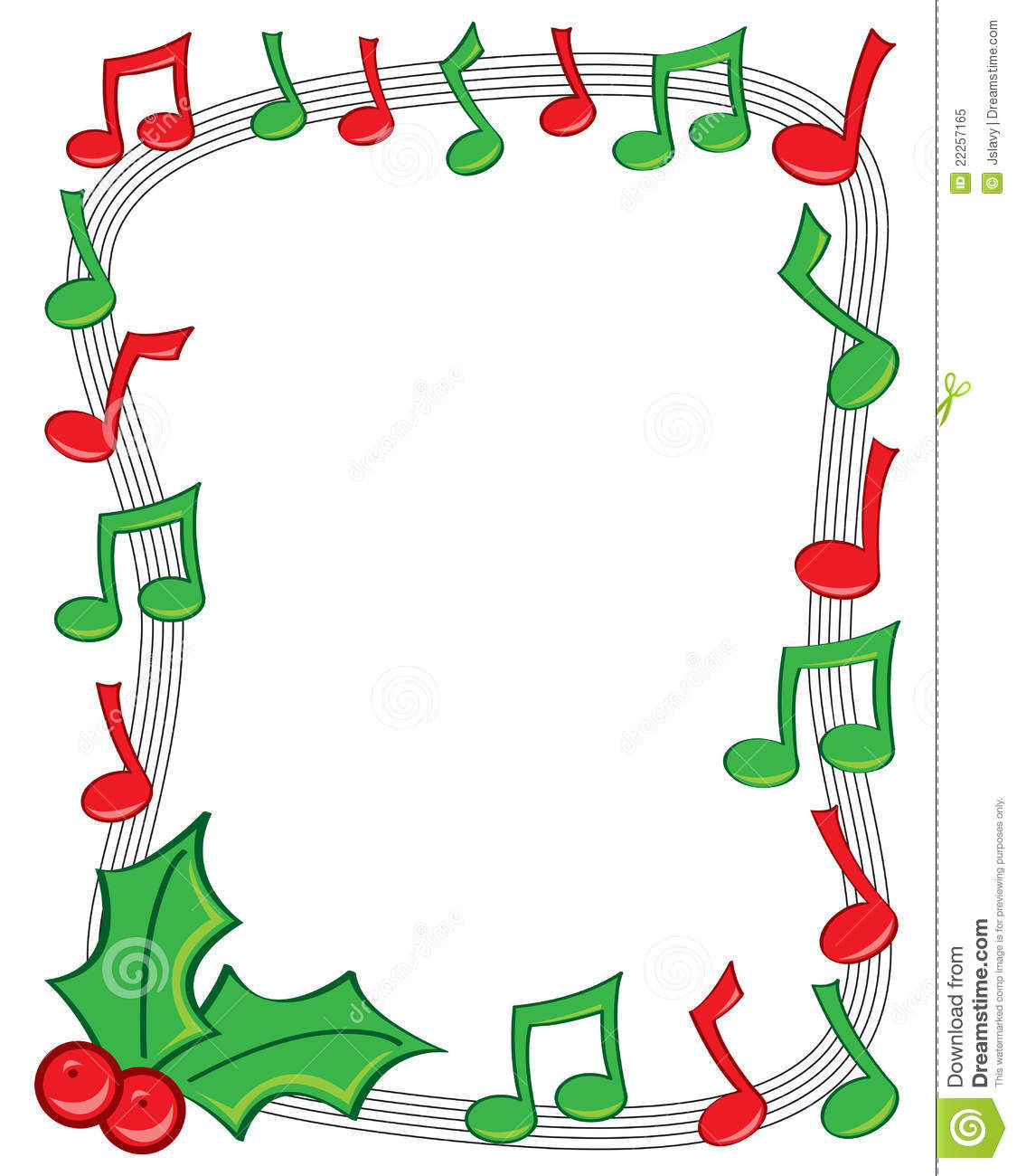 Christmas Music Notes Border Clip Art.