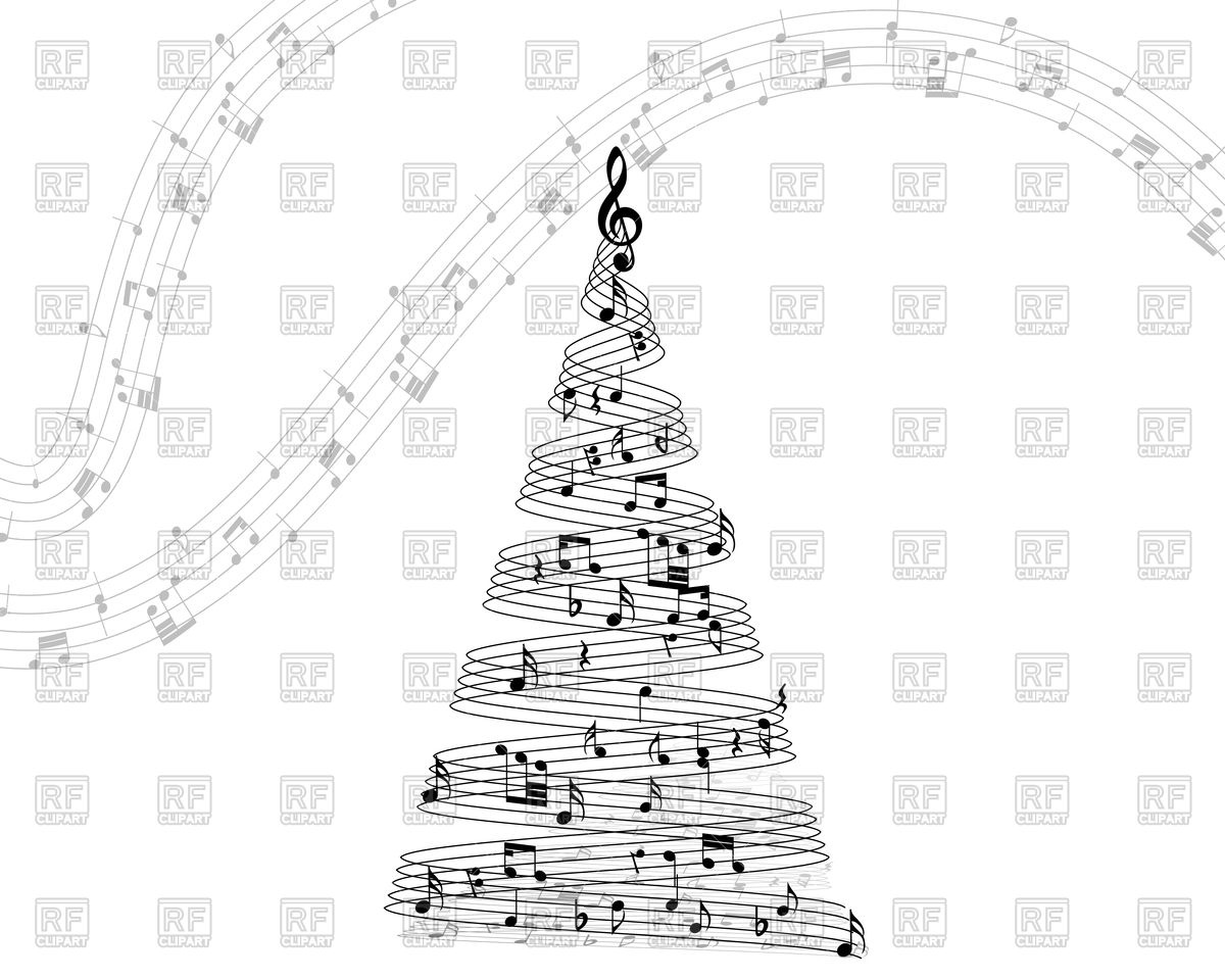Musical note staff on Christmas tree Vector Image #107140.