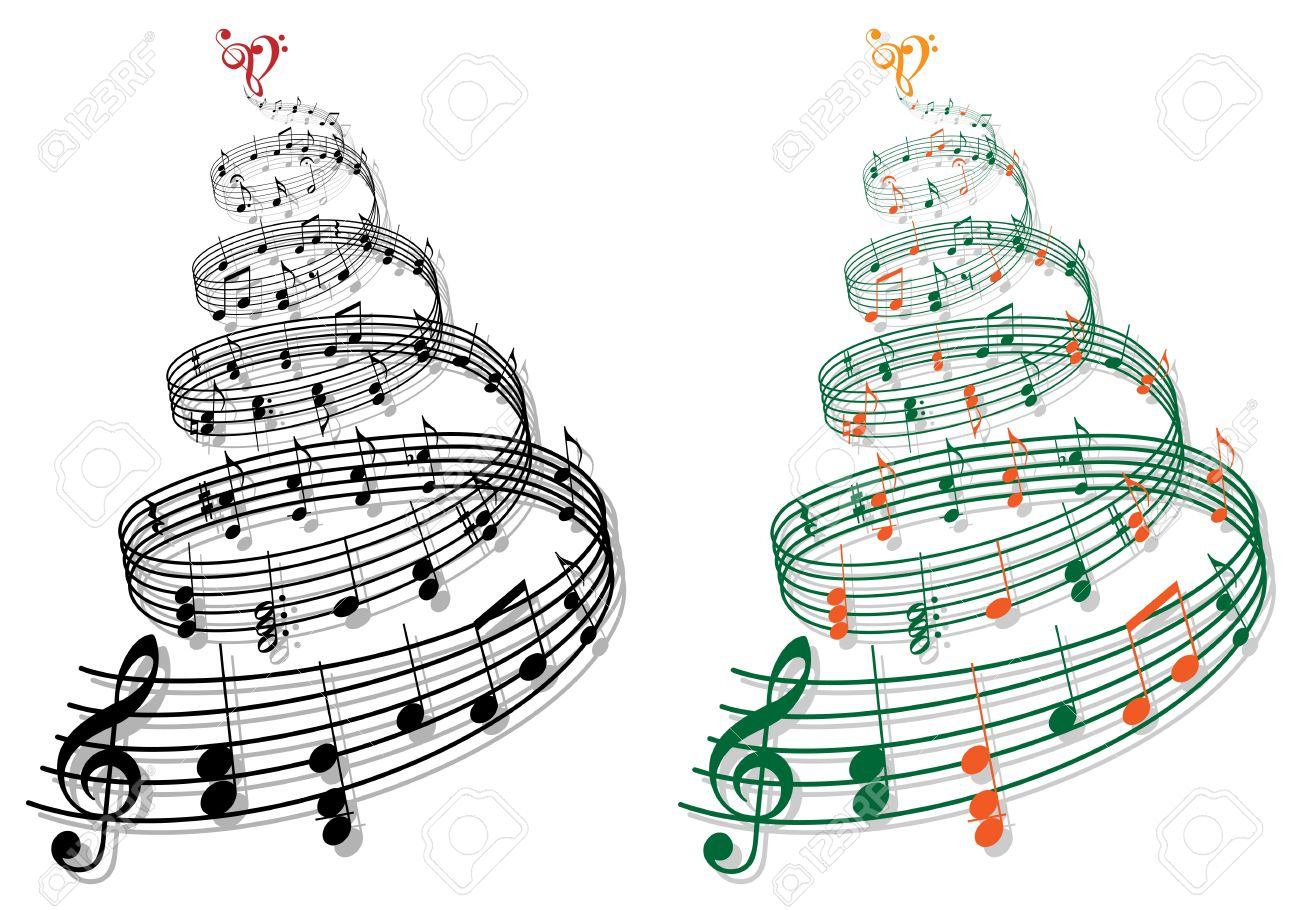 Swirly Tree With Music Notes Illustration Royalty Free Cliparts.