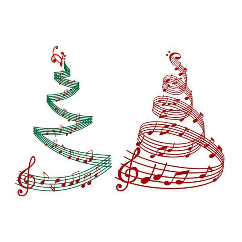 Christmas Tree Music Notes Cuttable Design SVG PNG DXF & eps Designs Cameo  File Silhouette.