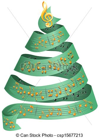 Clipart of Christmas tree with music dots.