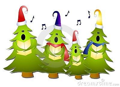 Christmas Tree Carolers Singing Royalty Free Stock Images.