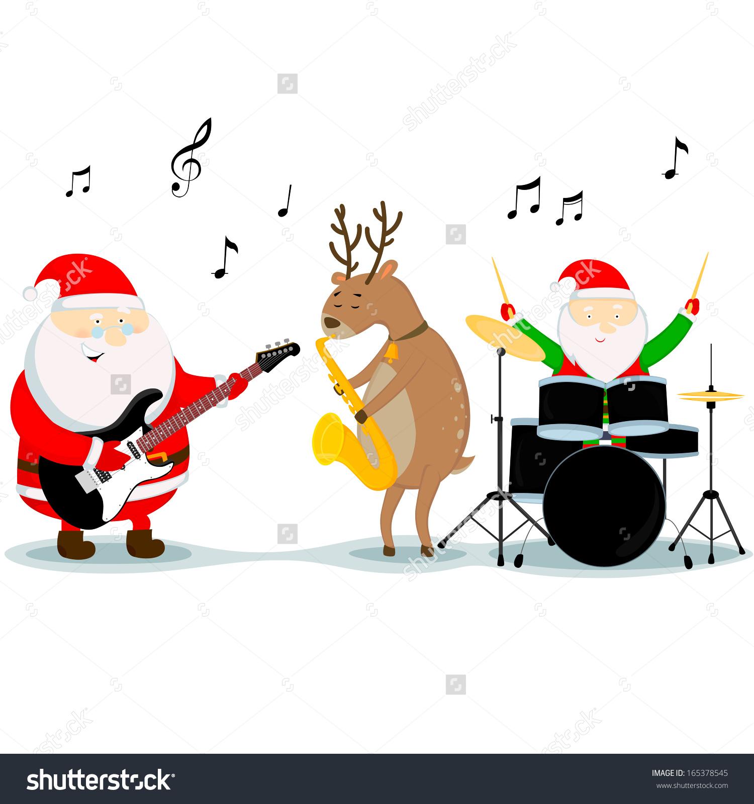 Santa Claus Reindeer Dwarf Play Musical Stock Vector 165378545.
