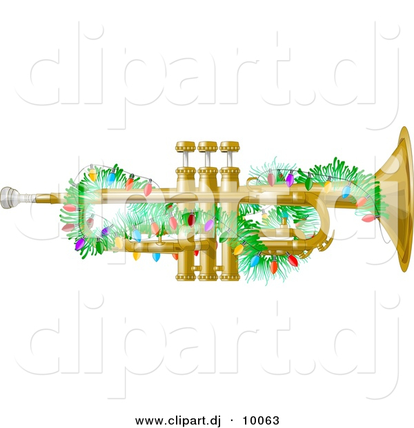 Clipart of a Cartoon Brass Trumpet Instrument with Christmas.