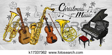 Clip Art of Christmas Music Instruments Paintin k17337362.