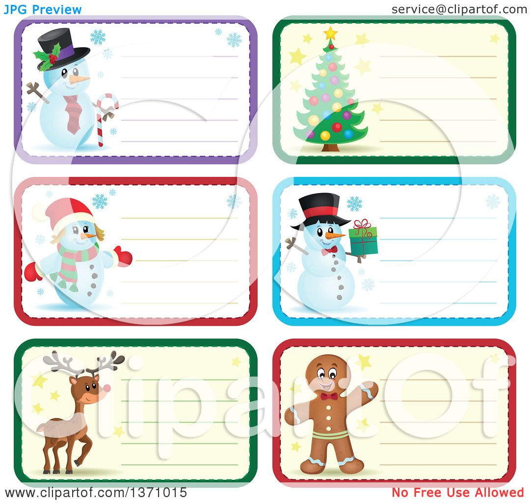 Clipart of Christmas Gift or Name Tag Labels of Snowmen, a Tree.