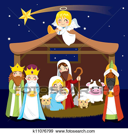 Christmas Nativity Scene Clip Art.