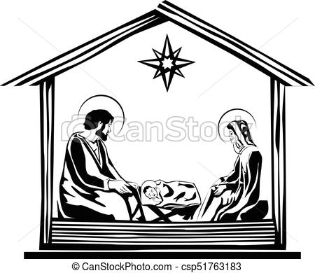 Christmas Nativity Scene vector.