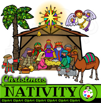 Christmas Nativity Clip Art Set.