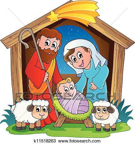 Christmas Nativity scene 2 Clipart.