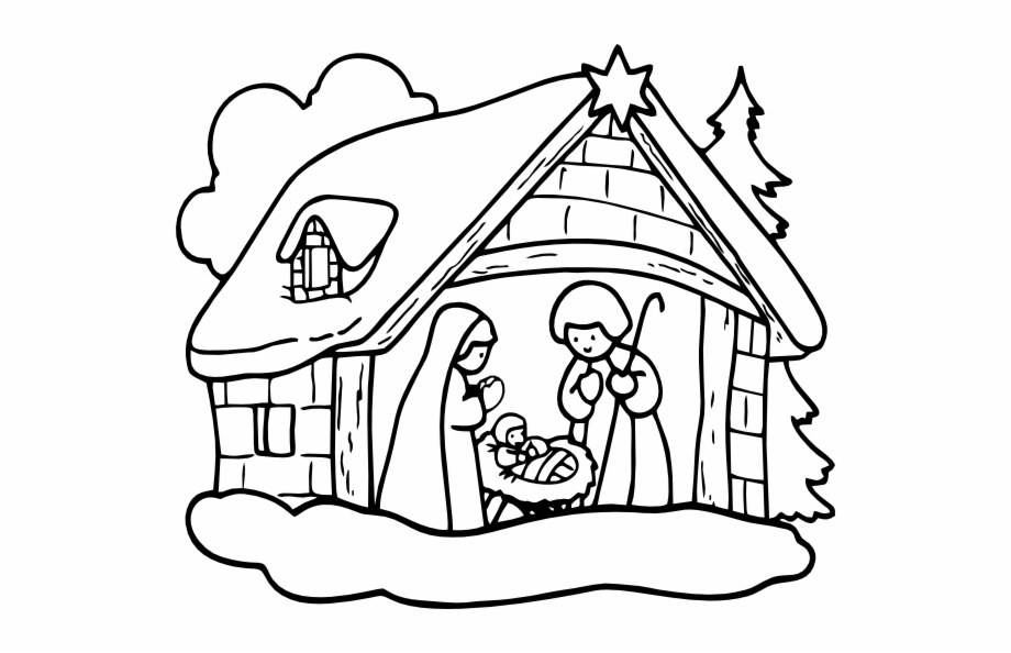 Christmas Black And White Christmas Nativity Clipart.