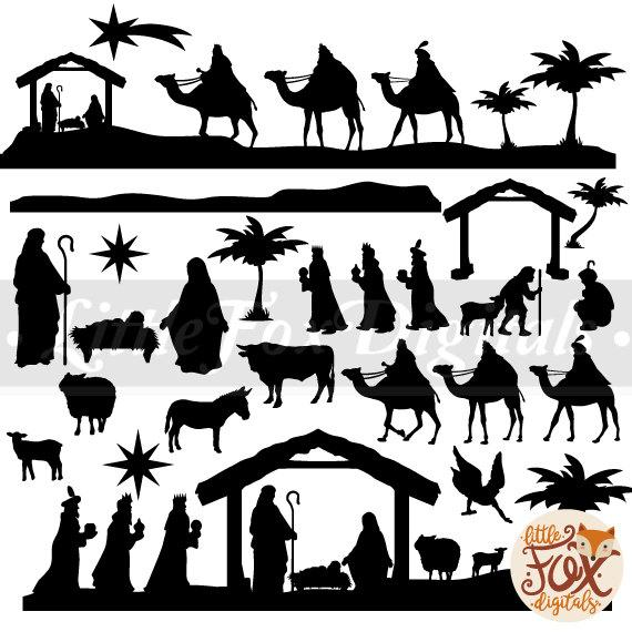 Baby Christ Clipart Christmas Nativity Scene Krippe Set Digital  Illustration Scrapbook Art Props Printable Scrapbooking Transparent PNG.