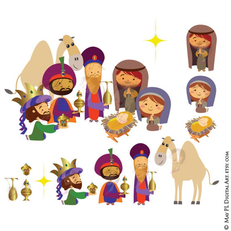 Christmas Nativity Clipart Scene includes Three Wise Men, Mary, Joseph,  Baby Jesus Christ, Camel, Bethlehem Star.