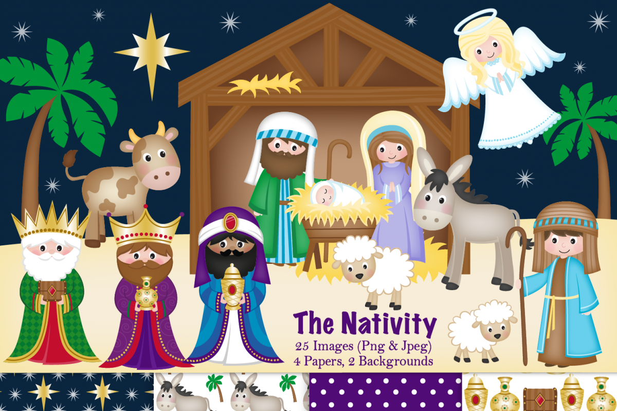 Nativity clipart, Christmas Nativity, Nativity Scene.
