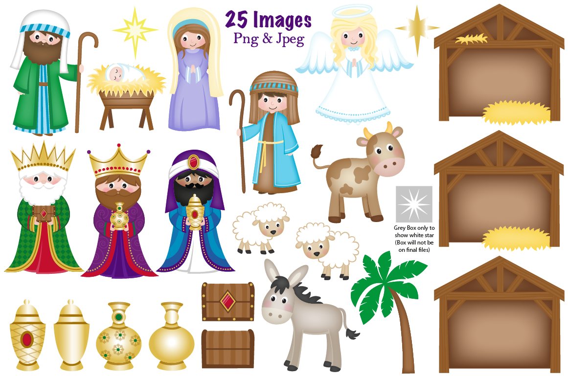 Christmas Nativity clipart, Nativity scene graphics & illustrations.