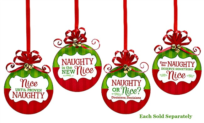 Naughty and Nice Wooden Ornaments.