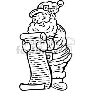 Santa checking his naughty and nice list clipart. Royalty.