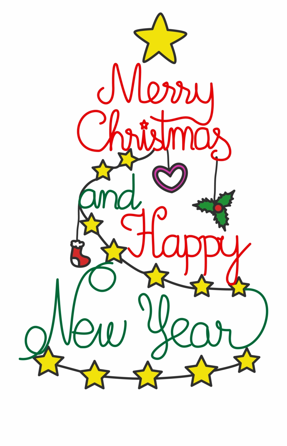 More Free Merry Christmas And Blessed New Year Png.