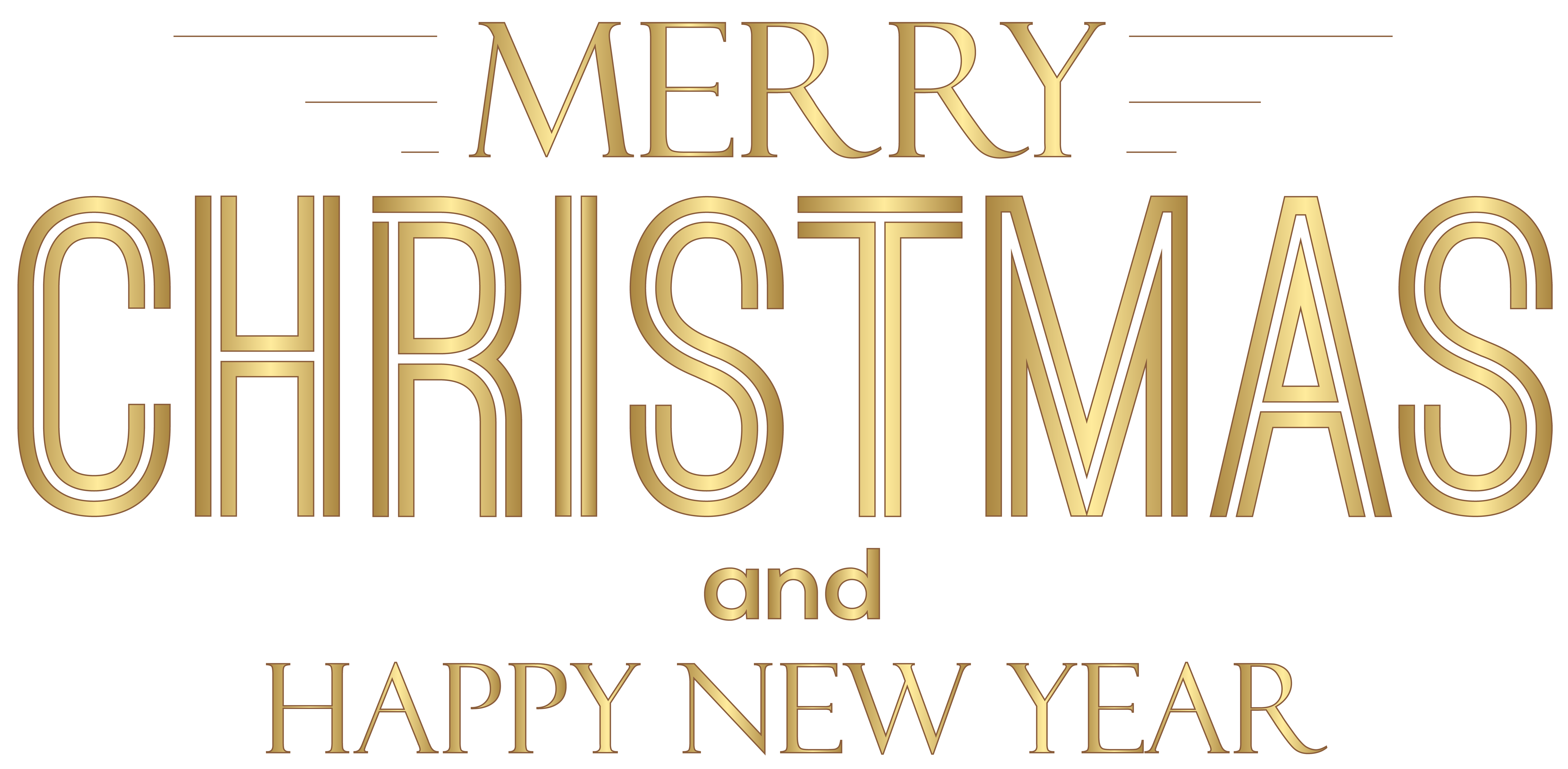 Merry Christmas and Happy New Year Text PNG Clip Art.