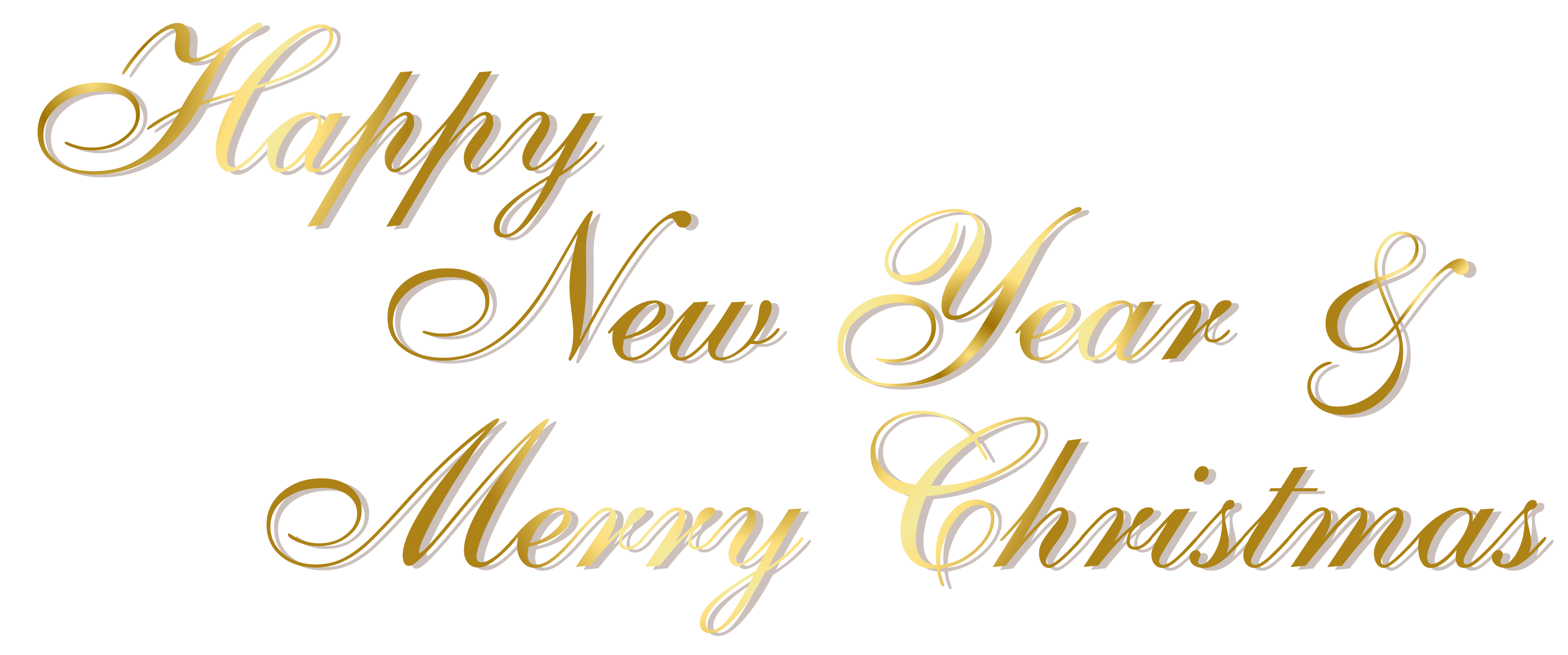 Gold Happy New Year and Merry Christmas PNG Text.
