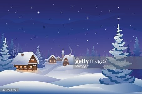 Christmas night village Clipart Image.