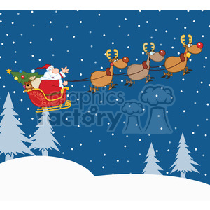 Clipart Illustration Santa Claus In Flight With His Reindeer And Sleigh In  Christmas Night clipart. Royalty.