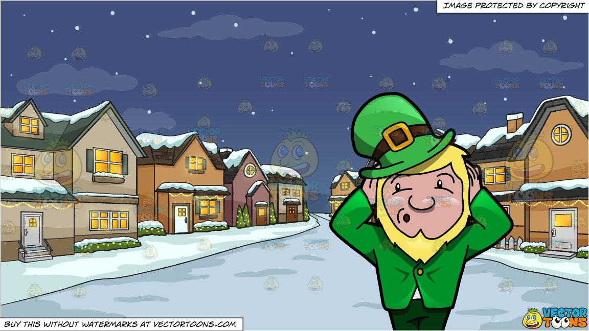 A Leprechaun Refusing To Hear Anything and Snowy Christmas Night Background.
