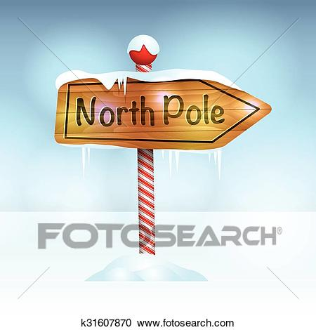 Christmas North Pole Sign in Snow Illustration Clipart.