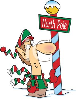 Cartoon of a Christmas Elf Standing at the North Pole.