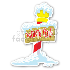 christmas north pole sticker clipart. Royalty.