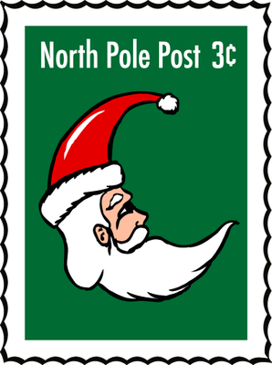 CHRISTMAS NORTH POLE SANTA STAMP CLIP ART.