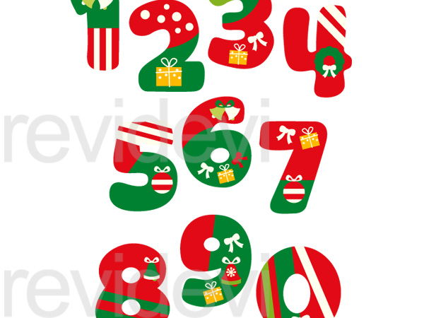 Christmas Numbers Clip Art Graphics.