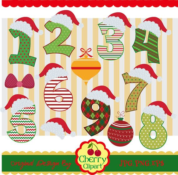Christmas Numbers Clip ArtBirthday NumbersHoliday by Cherryclipart.