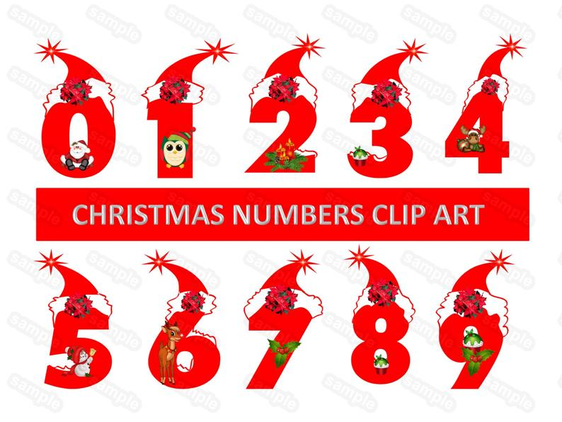 Red Christmas Numbers, Numbers Clip Art, Christmas Numbers, Digital  Numbers, Digits Clip art Santa Hat Numbers Clip art.