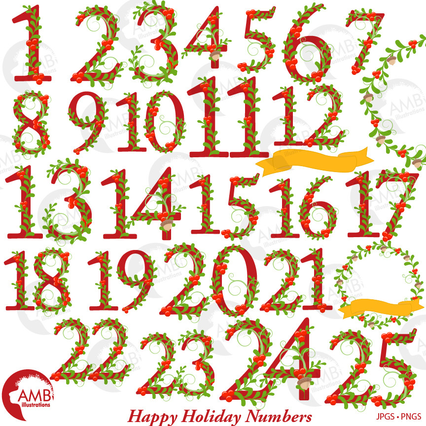 Christmas Numbers Clipart, Twelve Days of Christmas numbers, Happy holidays  numbers, AMB.