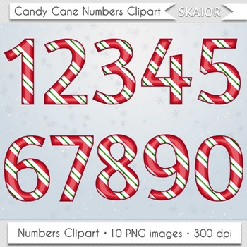 Candy Cane Numbers Clipart Christmas Numbers.
