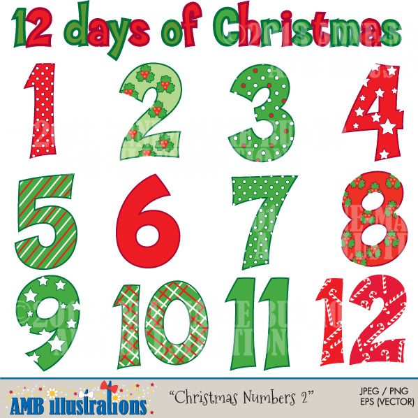 Christmas Numbers Clipart, Twelve Days of Christmas, Commercial Use.