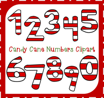 Candy Cane Numbers Clipart / Numbers Clipart / Math Numbers Clipart /  Christmas.
