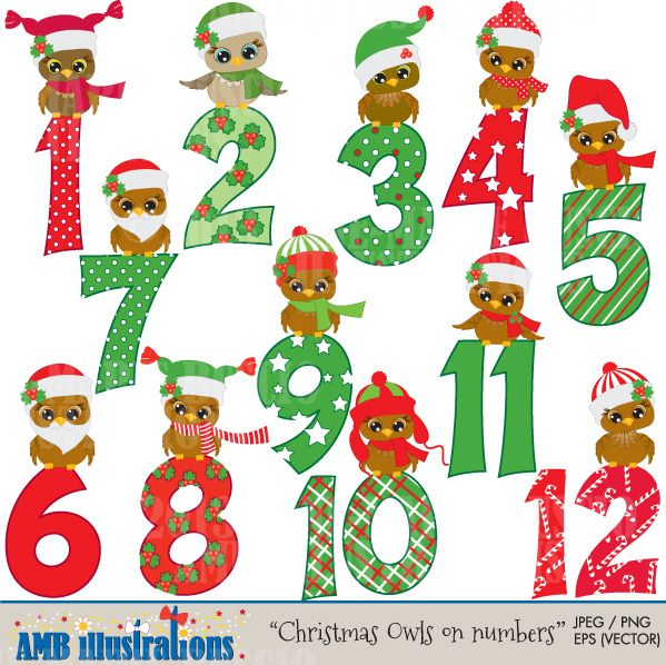 The cutest owls around, 12 christmas numbers, 12 Christmas owls.