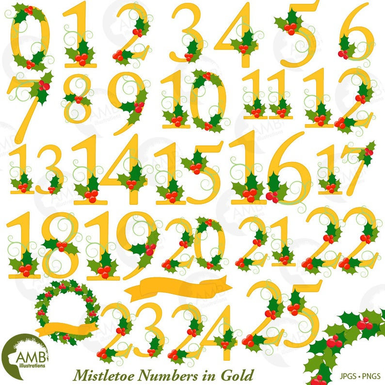 Christmas Numbers Clipart, Mistletoe Christmas numbers In Gold, Gold  Christmas numbers, Commercial Use, instant download, AMB.