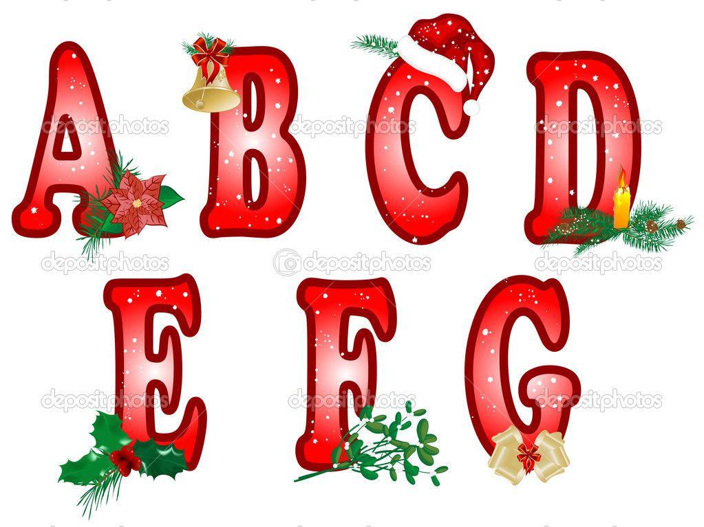Christmas Alphabet Letters Clipart.