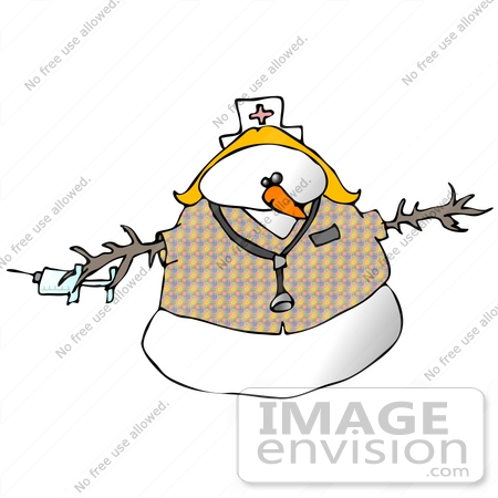 Clipart Ilustration of a Nurse Snow Woman Wearing a Hat and.