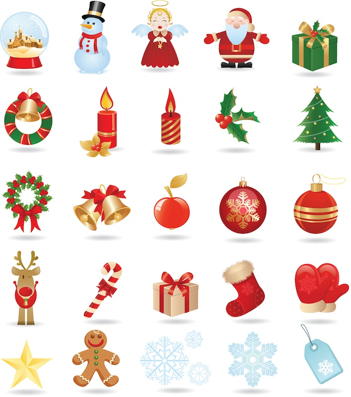 Christmas objects vector.
