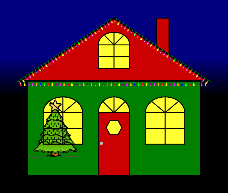 Free Clipart: House with Christmas Lights.