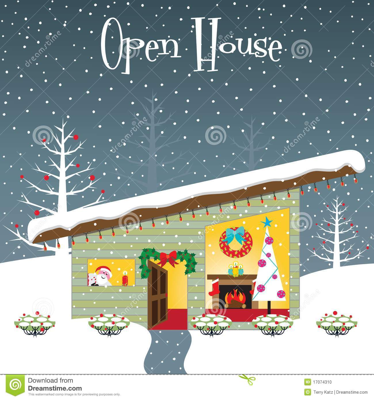 Christmas Open House Stock Illustrations.