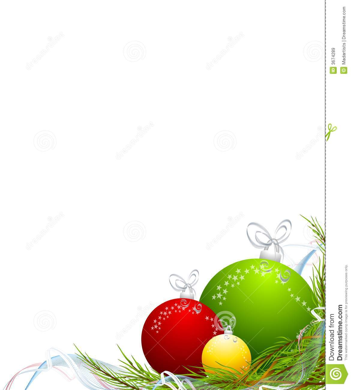 Christmas Ornaments Corner Border Stock Illustration.