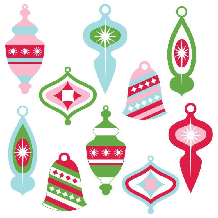 Vintage Christmas Ornaments Clip Art.