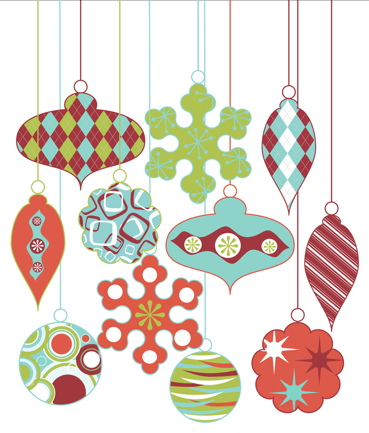 Vintage christmas ornaments clipart.